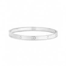 Round Solid Silver Plated Bangle, With 5 Bezel Set Cubic Zirconias